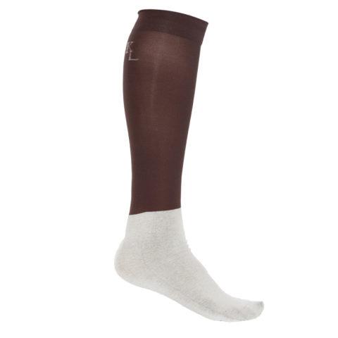 calze sottili marron per esibizioni, show socks brown, kingsland, abbigliamento cavaliere