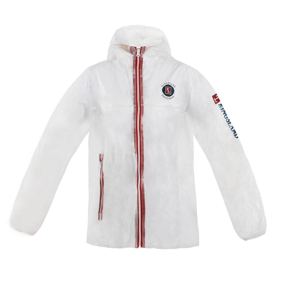 giacca da pioggia trasparente, transparent rain jacket, kingsland, abbigliamento da pioggia per cavaliere
